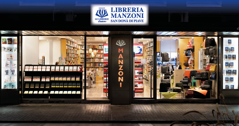 Libreria Manzoni a San Donà - Esterno in notturna
